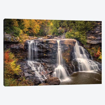 USA, West Virginia, Blackwater Falls State Park. Waterfall and forest scenic. Canvas Print #JYG201} by Jaynes Gallery Art Print