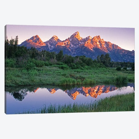 USA, Wyoming, Grand Teton National Park. Mountains reflect in beaver pond at sunrise. Canvas Print #JYG204} by Jaynes Gallery Canvas Artwork