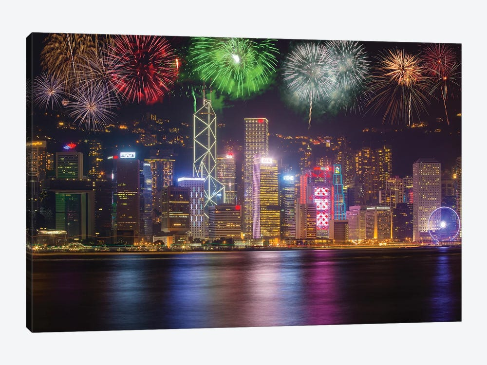 China, Hong Kong. Fireworks over city at night. by Jaynes Gallery 1-piece Canvas Wall Art