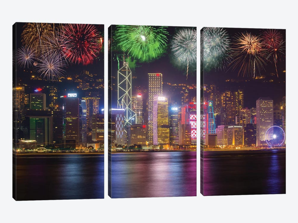 China, Hong Kong. Fireworks over city at night. by Jaynes Gallery 3-piece Canvas Art