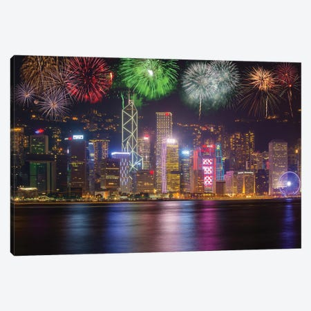 China, Hong Kong. Fireworks over city at night. Canvas Print #JYG21} by Jaynes Gallery Canvas Artwork