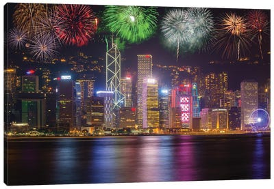 China, Hong Kong. Fireworks over city at night. Canvas Art Print