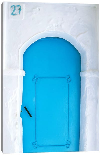 Africa, Morocco, Chefchaouen. Blue door in white building.  Canvas Art Print