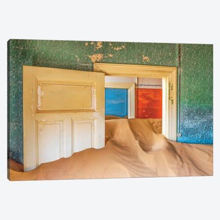 Africa, Namibia, Kolmanskop. Doorways and drifting sand in an abandoned diamond mining town. Canvas Print #JYG224} by Jaynes Gallery Canvas Art