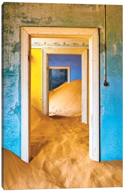 Africa, Namibia, Kolmanskop. Doorways and drifting sand in an abandoned diamond mining town. Canvas Art Print