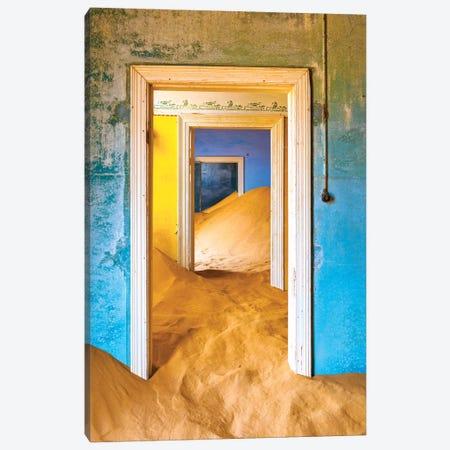Africa, Namibia, Kolmanskop. Doorways and drifting sand in an abandoned diamond mining town. Canvas Print #JYG225} by Jaynes Gallery Canvas Artwork