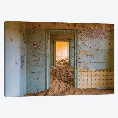 Africa, Namibia, Kolmanskop. Doorways and drifting sand in an abandoned diamond mining town. Canvas Print #JYG226} by Jaynes Gallery Canvas Wall Art