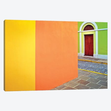 Caribbean, Puerto Rico, San Juan. Door and colorful building walls.  Canvas Print #JYG227} by Jaynes Gallery Canvas Wall Art