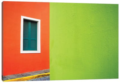 Caribbean, Puerto Rico, San Juan. Window and colorful building walls.  Canvas Art Print