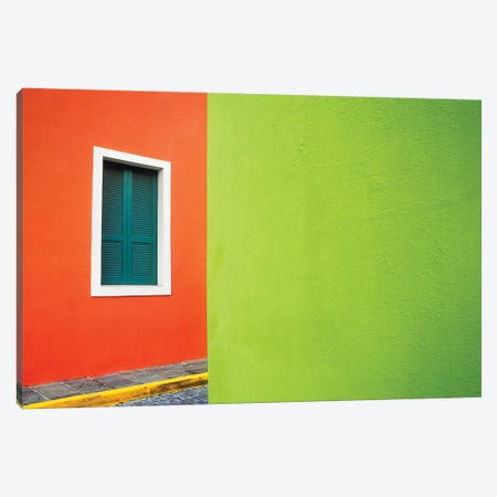 Caribbean, Puerto Rico, San Juan. Window and colorful building walls.  Canvas Print #JYG228} by Jaynes Gallery Canvas Art Print