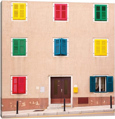 Croatia, Vrsar. Building with colorful shutters.  Canvas Art Print