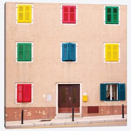 Croatia, Vrsar. Building with colorful shutters.  Canvas Print #JYG229} by Jaynes Gallery Art Print