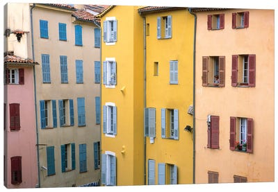 France, Provence, Grasse. Colorful buildings.  Canvas Art Print
