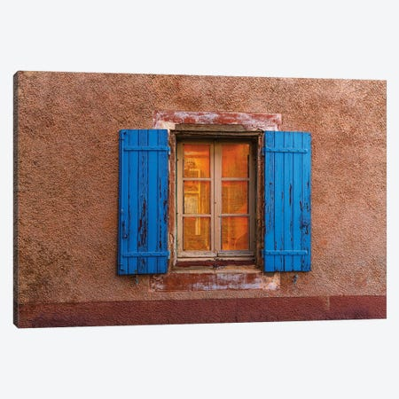 France, Provence, Roussillon. Blue window shutters. and wall.  Canvas Print #JYG232} by Jaynes Gallery Canvas Art