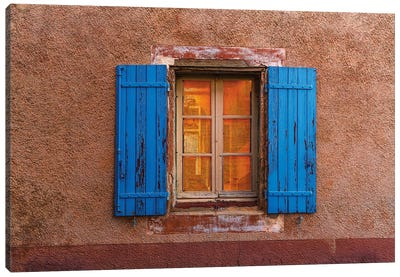 France, Provence, Roussillon. Blue window shutters. and wall.  Canvas Art Print