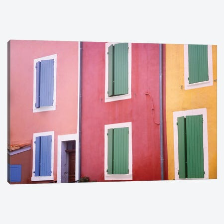 France, Provence, Roussillon. Colorful building exteriors.  Canvas Print #JYG233} by Jaynes Gallery Canvas Art