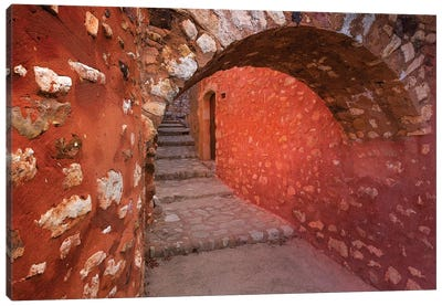 France, Provence, Roussillon. Stone arch and passageway.  Canvas Art Print