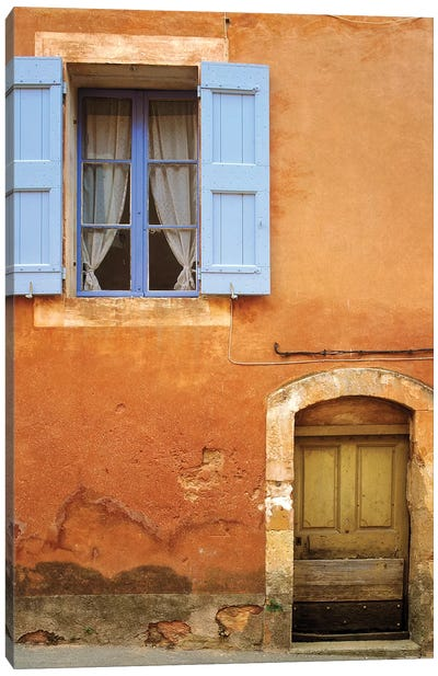 France, Provence, Roussillon. Weathered window and door of house.  Canvas Art Print