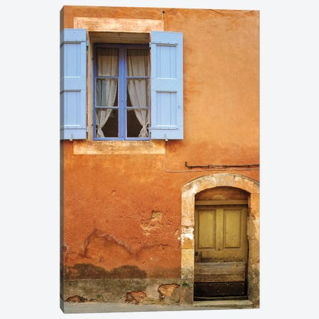 France, Provence, Roussillon. Weathered window and door of house.  Canvas Print #JYG235} by Jaynes Gallery Canvas Print