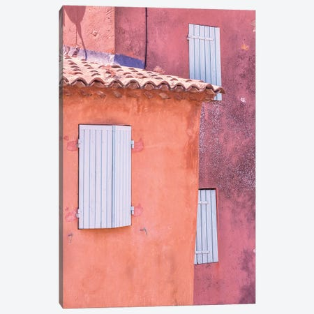 France, Provence, Roussillon. Window shutters in buildings.  Canvas Print #JYG236} by Jaynes Gallery Canvas Print
