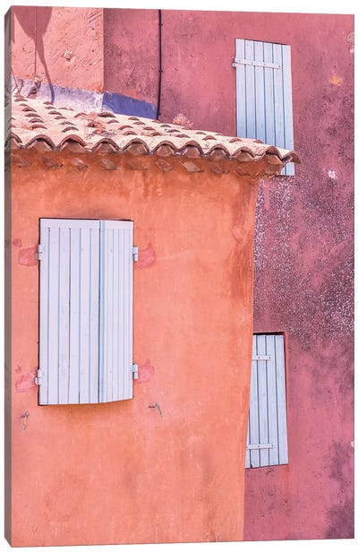 France, Provence, Roussillon. Window shutters in buildings.  Canvas Art Print