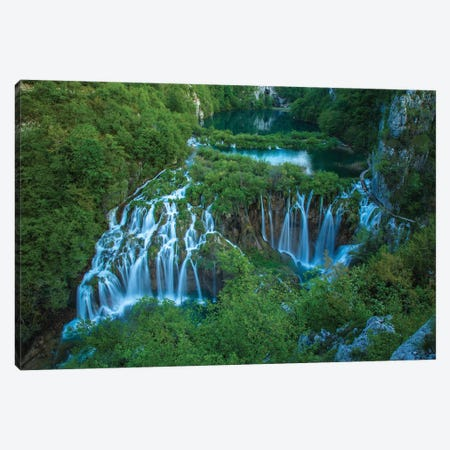 Croatia, Plitvice Lakes National Park. Waterfall landscape. Canvas Print #JYG23} by Jaynes Gallery Canvas Artwork