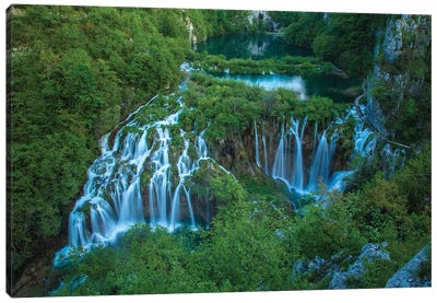 Croatia, Plitvice Lakes National Park. Waterfall landscape. Canvas Art Print