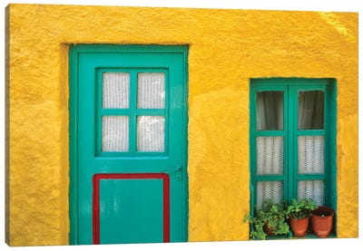 Greece, Nissyros. Door and window of colorful house.  Canvas Art Print