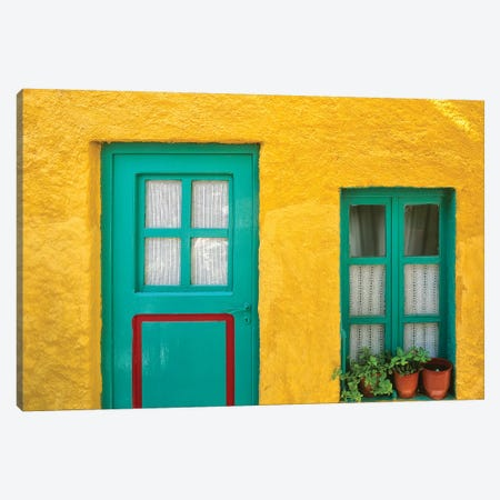 Greece, Nissyros. Door and window of colorful house.  3-Piece Canvas #JYG240} by Jaynes Gallery Art Print