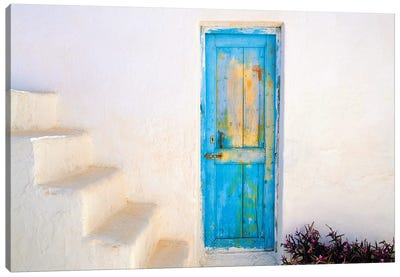 Greece, Nissyros. Weathered door and stairway.  Canvas Art Print