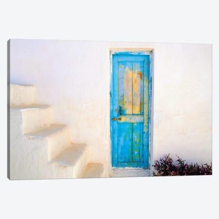 Greece, Nissyros. Weathered door and stairway.  3-Piece Canvas #JYG241} by Jaynes Gallery Art Print