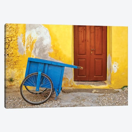 Greece, Rhodes. House with blue cart in front.  Canvas Print #JYG242} by Jaynes Gallery Canvas Art Print