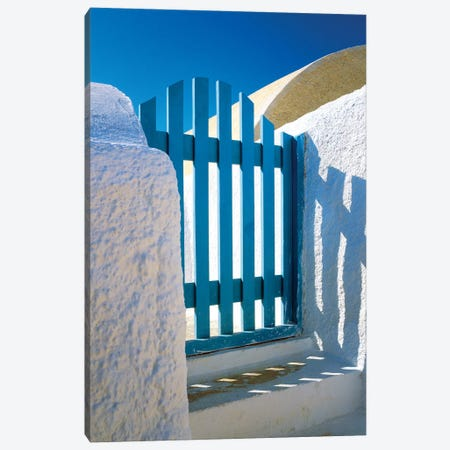 Greece, Santorini, Oia. Blue gate of home.  Canvas Print #JYG244} by Jaynes Gallery Canvas Art