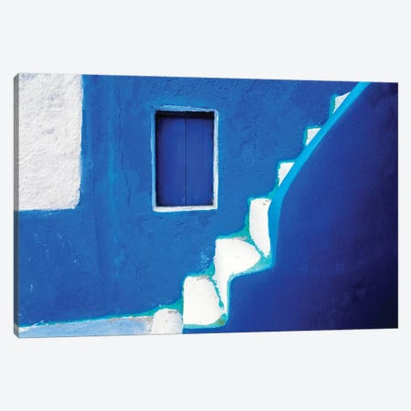 Greece, Santorini, Oia. Blue house and stairway.  Canvas Print #JYG245} by Jaynes Gallery Canvas Wall Art