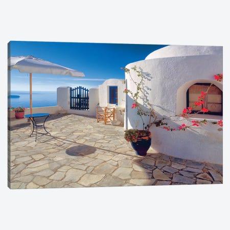 Greece, Santorini, Oia. House balcony with ocean view.  Canvas Print #JYG246} by Jaynes Gallery Canvas Wall Art