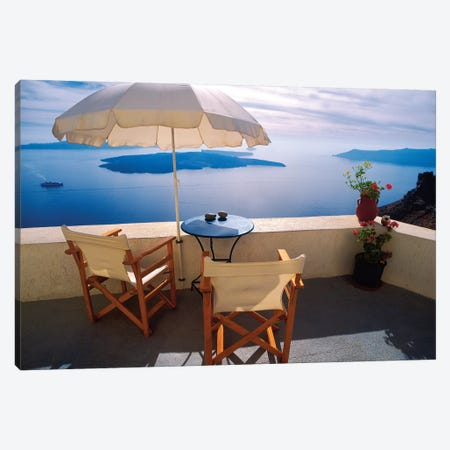 Greece, Santorini, Oia. House balcony with ocean view.  Canvas Print #JYG247} by Jaynes Gallery Canvas Wall Art