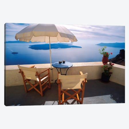 Greece, Santorini, Oia. House balcony with ocean view.  Canvas Print #JYG247} by Jaynes Gallery Canvas Wall Art