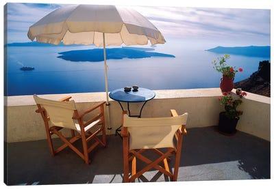 Greece, Santorini, Oia. House balcony with ocean view.  Canvas Art Print