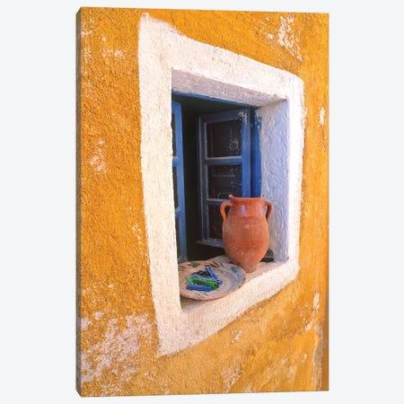 Greece, Santorini, Oia. Pottery in window.  Canvas Print #JYG248} by Jaynes Gallery Canvas Art Print