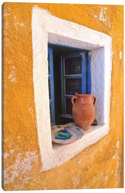 Greece, Santorini, Oia. Pottery in window.  Canvas Art Print