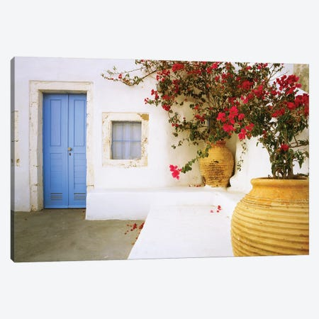 Greece, Santorini. Blue door to house and potted flowers.  Canvas Print #JYG249} by Jaynes Gallery Canvas Print