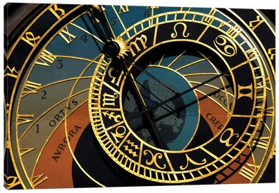 Czech Republic, Prague. Close-up of astronomical clock in Old Town Square. Canvas Art Print
