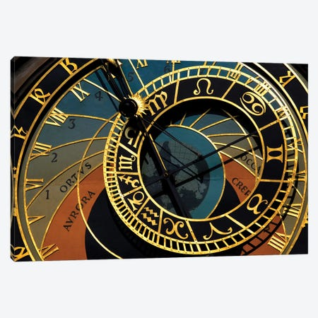 Czech Republic, Prague. Close-up of astronomical clock in Old Town Square. 3-Piece Canvas #JYG24} by Jaynes Gallery Canvas Art Print