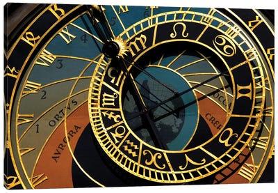 Czech Republic, Prague. Close-up of astronomical clock in Old Town Square. Canvas Art Print