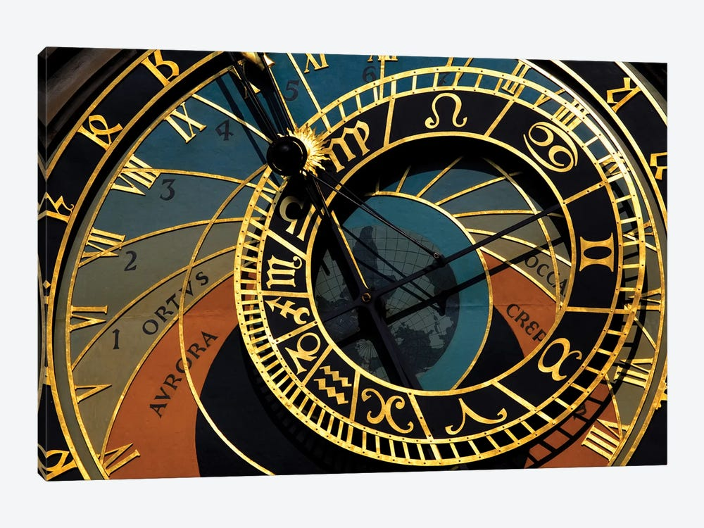 Czech Republic, Prague. Close-up of astronomical clock in Old Town Square. by Jaynes Gallery 1-piece Art Print