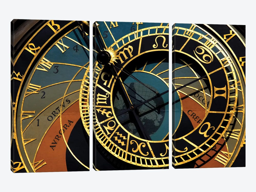 Czech Republic, Prague. Close-up of astronomical clock in Old Town Square. by Jaynes Gallery 3-piece Canvas Art Print