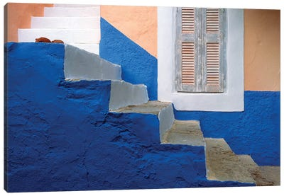 Greece, Symi. Blue and white stairway.  Canvas Art Print