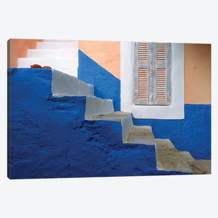 Greece, Symi. Blue and white stairway.  Canvas Print #JYG250} by Jaynes Gallery Canvas Art
