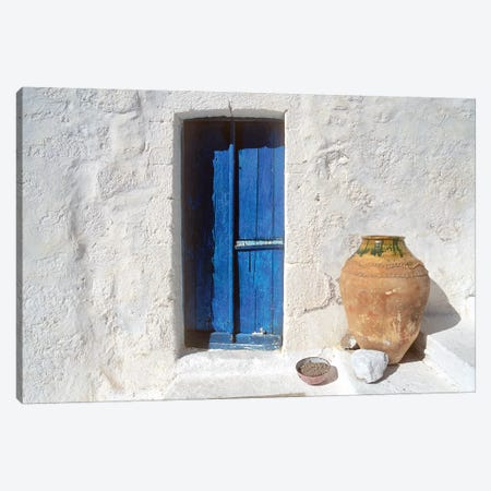 Greece, Symi. Blue door and pot.  Canvas Print #JYG251} by Jaynes Gallery Canvas Wall Art
