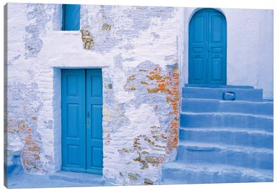 Greece, Symi. Blue doors and stairway of house.  Canvas Art Print